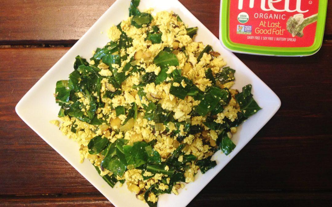 Tofu Scramble with Collard Greens and Shiitake Mushrooms
