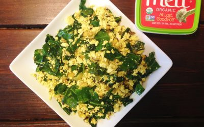 Tofu Scramble with Collard Greens and Shiitake Mushrooms