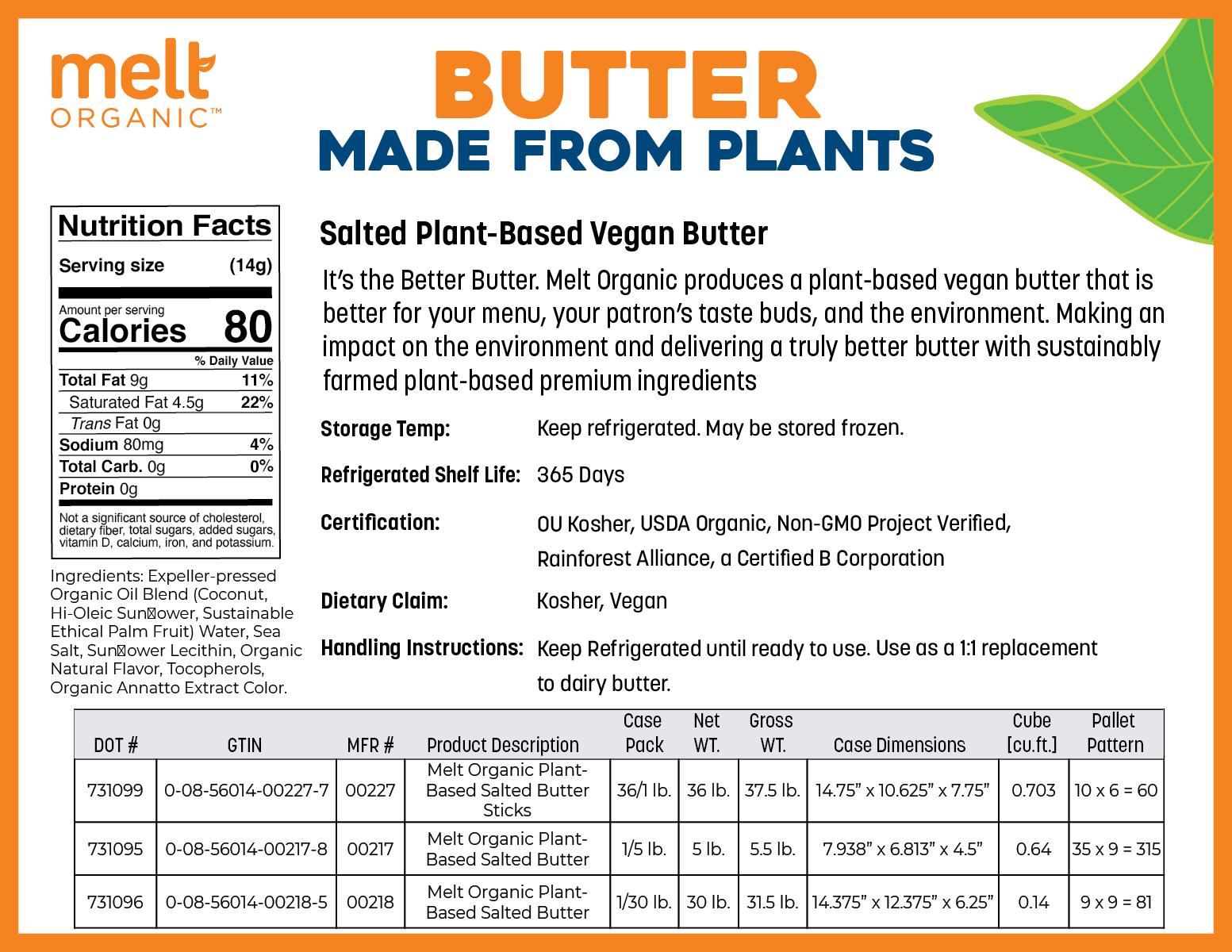 Melt Organic FoodService Spec Sheet